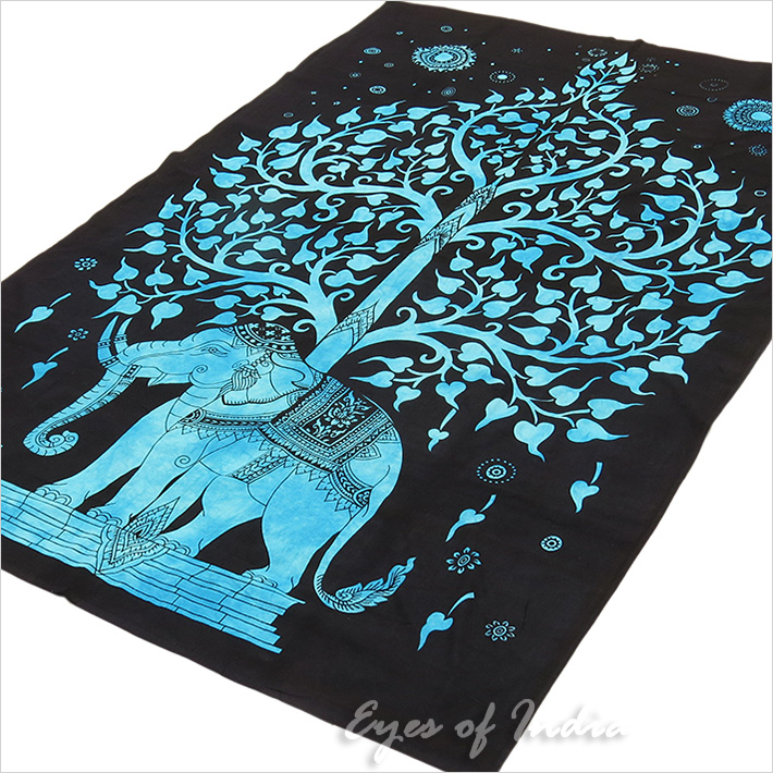 Elephant Tree of Life Tapestry Hippie Bedspread Bohemian Wall Hanging - Small/Twin