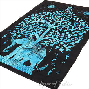 Elephant Tree of Life Tapestry Hippie Bedspread Bohemian Wall Hanging - Twin/Single