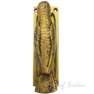 Bird Wood Pecker Brass Door Knocker - 7""