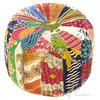 "Small Kantha Bohemian Embroidered Boho Ottoman Pouf Pouffe Cover Round - 16 X 10"" 1"