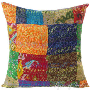 Silk Kantha Colorful Decorative Bohemian Boho Pillow Couch Sofa Cushion Throw Cover - 16""