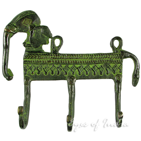 Brass Elephant Animal Wall Hooks Handmade Hangers Coat Key Rack - 5""
