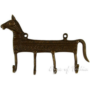 Brass Horse Animal Wall Hooks Handmade Hangers Coat Key Rack - 7""