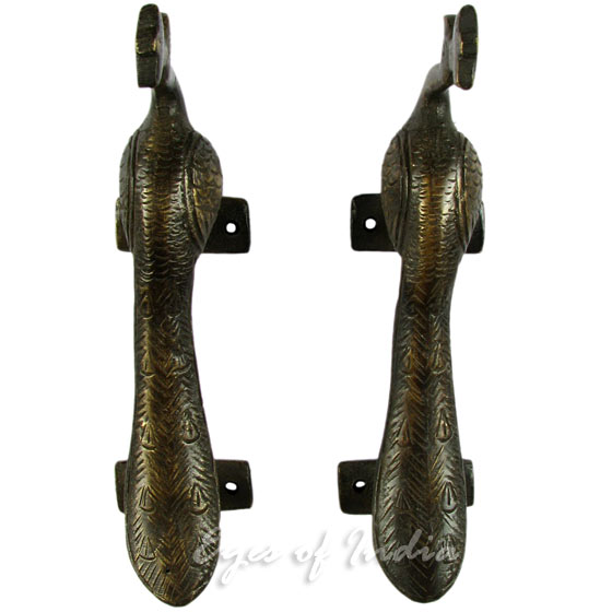 Pair of Brass Peacock Cabinet Pulls Handmade Animal Door Handles - 5""