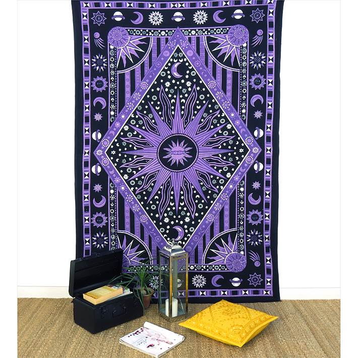 Small Twin Purple Hippie Indian Mandala Sun And Moon Tapestry Wall Hanging Picnic Bohemian Accent Boho Chic Handmade