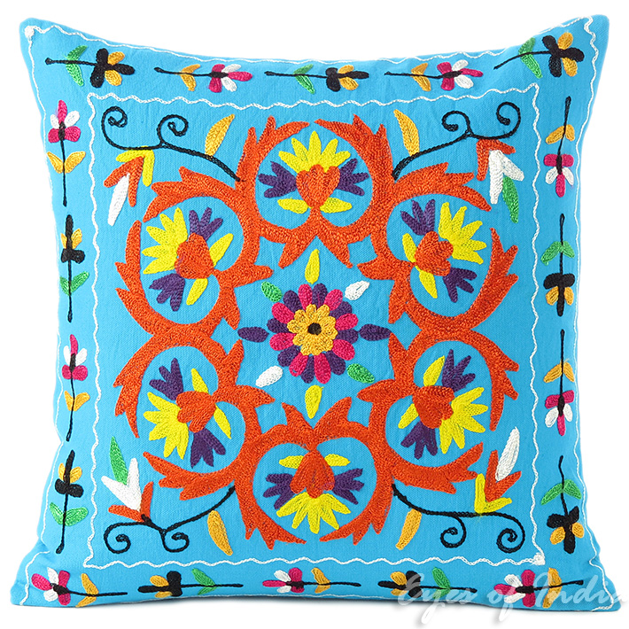 """Blue Embroidered Colorful Decorative Sofa Throw Boho Bohemian Pillow Couch Cushion Cover - 16"""""""