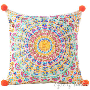 "Orange Purple Colorful Decorative Embroidered Mandala Sofa Boho Cushion Couch Pillow Throw Cover - 16"""