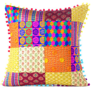 "Colorful Kantha Brocade Throw Sofa Couch Cushion Boho Bohemian Pillow Cover - 16"""