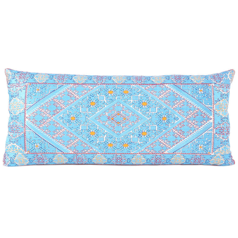 """Turquoise Teal Embroidered Swati Bolster Long Lumbar Colorful Couch Pillow Cushion Cover - 14 X 32"""""""