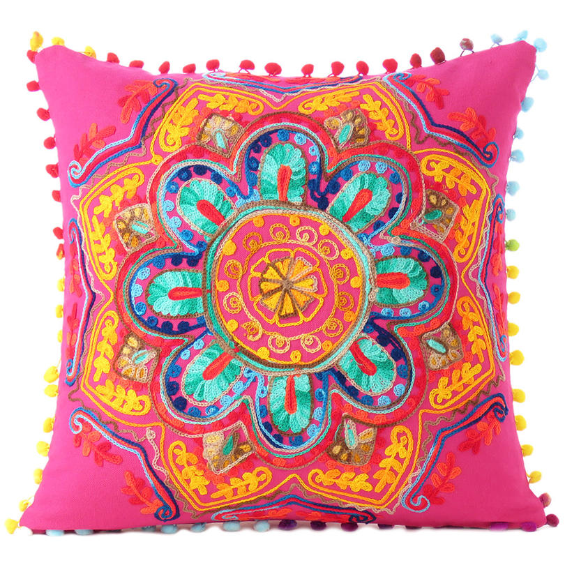 """Pink Orange Blue Embroidered Colorful Throw Pillow Bohemian Couch Sofa Cushion Cover - 16"""""""