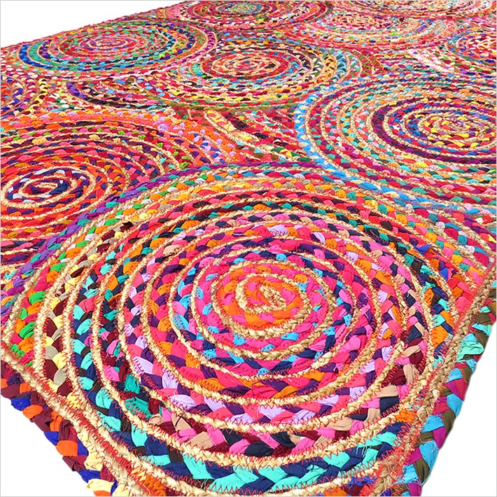 Colorful Woven Jute Chindi Braided Area Decorative Rag Rug 4 X 6 ft