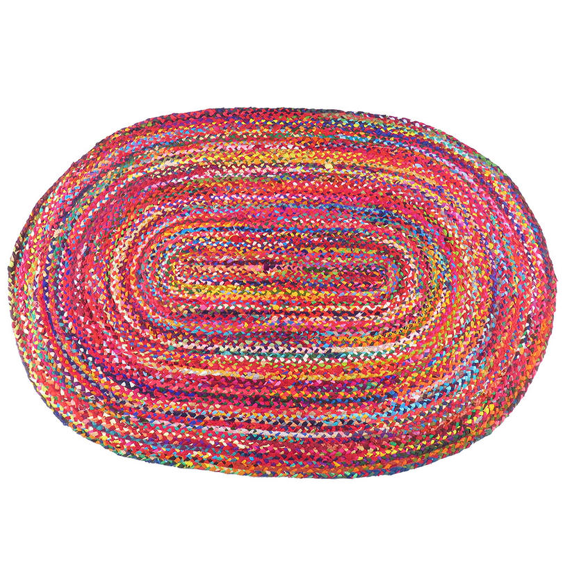 Colorful Oval Woven Jute Chindi Braided Area Rag Rug BOhemian 4 X 6 ft
