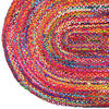 Colorful Oval Woven Jute Chindi Braided Area Rag Rug BOhemian 4 X 6 ft 3