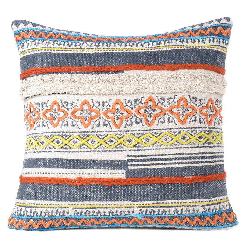 "Blue Orange Yellow Colorful Decorative Textured Fringe Tassel Pillow Cushion Cover - 20"",  16 X 24"""