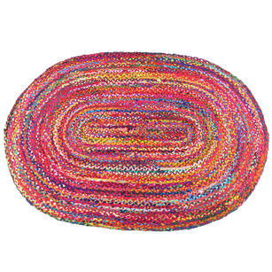 Oval Woven Jute Chindi Braide Area Rag Rug Bohemian Handwoven - 4 X 6 ft
