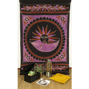 Small Twin Black Indian Elephant Mandala Sun Tapestry Hanging Picnic Bohemian Ac