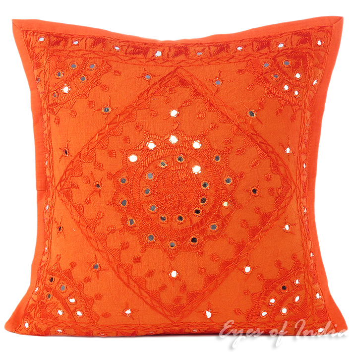 Orange Mirror Embroidered Boho Colorful Decorative Sofa Throw Couch Pillow Cushion Cover 16 To 24