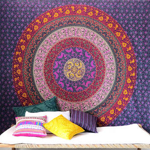 Multicolored Boho Mandala Hippie Tapestry Bohemian Indian Bedspread - Large/Queen