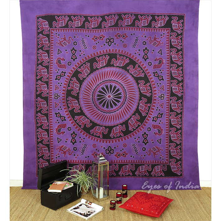 Elephant Tapestry Wall Hanging purple mandala elephant tapestry wall hanging bedspread - queen