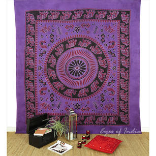 Purple Mandala Elephant Tapestry Wall Hanging Bedspread - Queen/Double