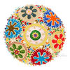 "Brown Cream Beige Embroidered Round Decorative Seating Colorful Floor Meditation Pillow Cushion Cover - 24"" 2"