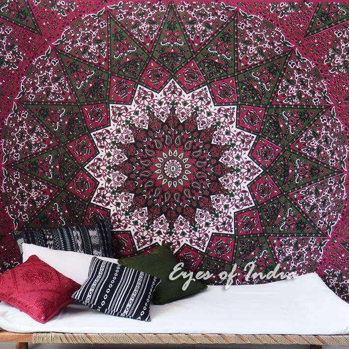 Large Queen   Red Hippie Indian Mandala Tapestry Bedspread Be