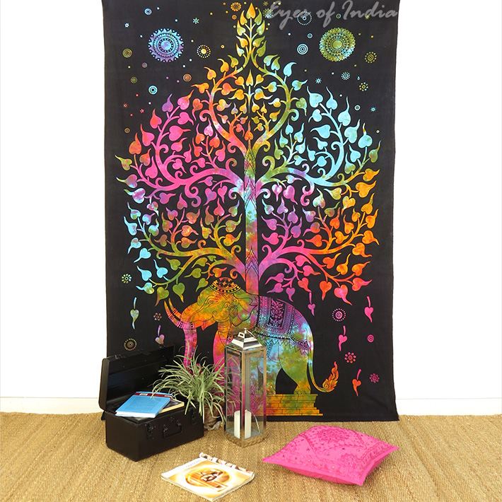 Indian Tree of Life Tapestry Boho Wall hanging Bohemian Bedspread Bedsheet Decor