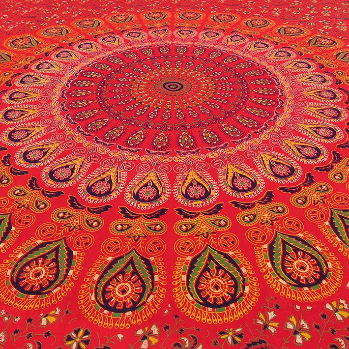 Einzelbett rot hippie indisch mandala wandteppich for Lesesessel rot
