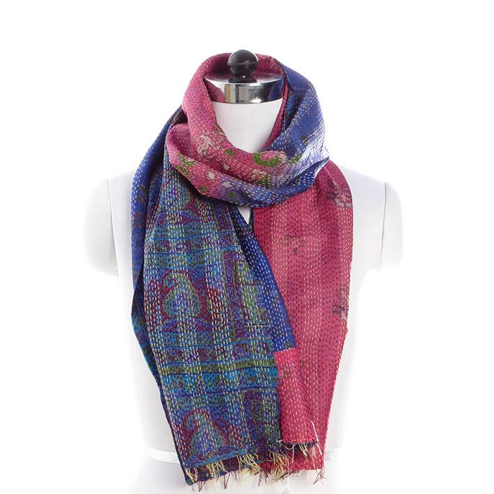 """Reversible Colorful Vintage Kantha Silk Shawl Boho Bohemian Scarf Wrap, 18 X 72"""""""