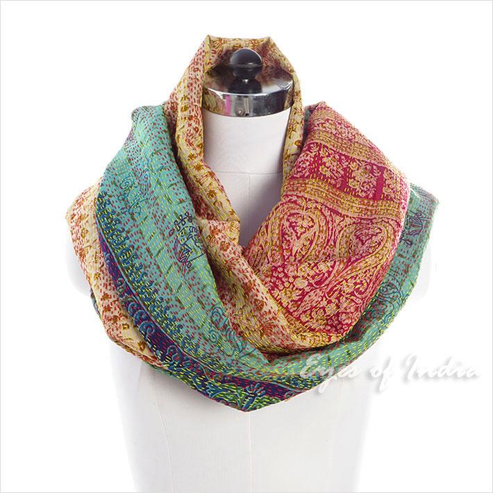"""Colorful Reversible Silk Vintage Kantha Scarf Bohemian Boho Shawl Wrap - 30 X 80"""""""