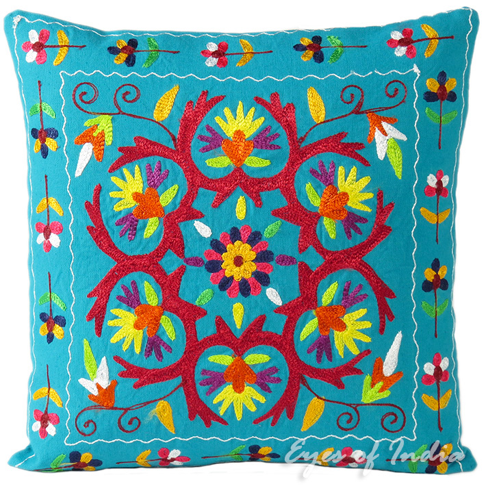 Light Blue Embroidered Decorative Throw Boho Bohemian Pillow Couch Cushion Cover - 16""