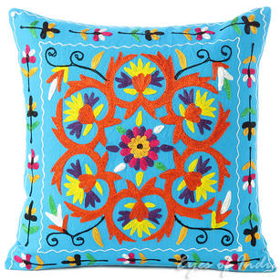 Blue Embroidered Colorful Decorative Sofa Throw Boho Bohemian Pillow Couch Cushion Cover - 16""