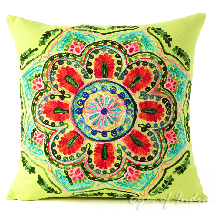 Green and Yellow Embroidered Colorful Decorative Sofa Throw Pillow Couch Cushion Cover - 16""