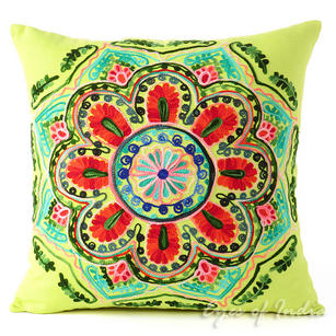 """Green and Yellow Embroidered Colorful Decorative Sofa Throw Pillow Couch Cushion Cover - 16"""""""