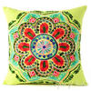 "Green and Yellow Embroidered Colorful Decorative Sofa Throw Pillow Couch Cushion Cover - 16"" 1"