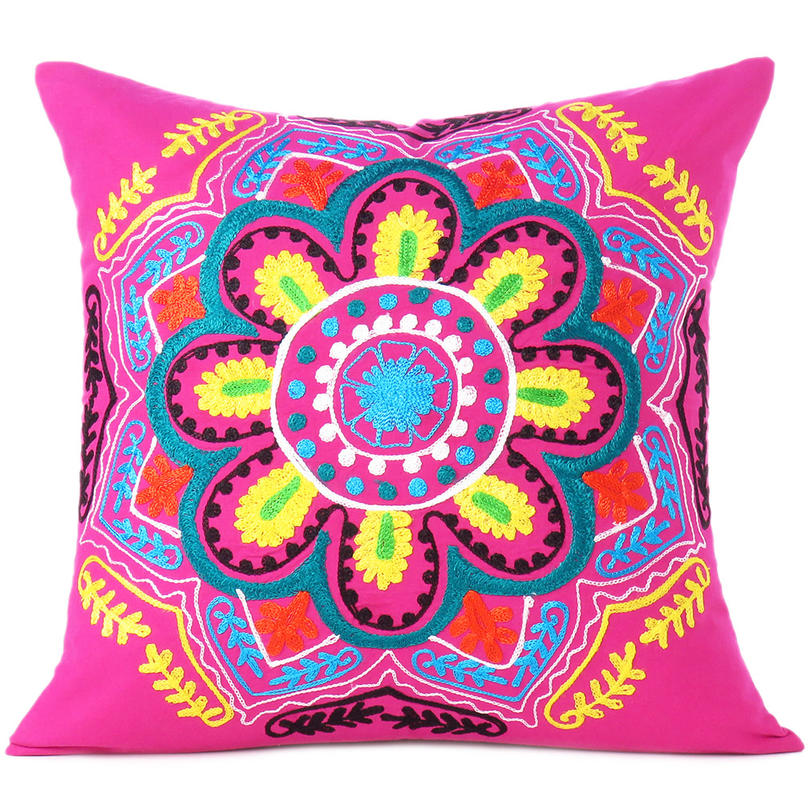 Pink Yellow Embroidered Colorful Decorative Sofa Throw Boho Bohemian Pillow Couch Cushion Cover - 16""