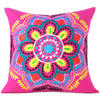 "Pink Yellow Embroidered Colorful Decorative Sofa Throw Boho Bohemian Pillow Couch Cushion Cover - 16"" 1"