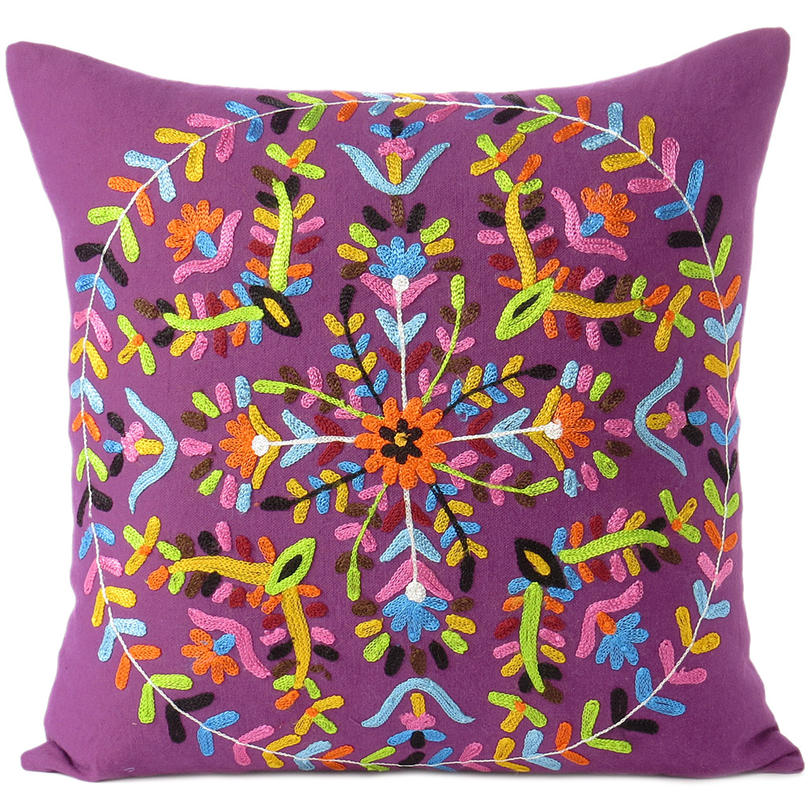Purple Embroidered Boho Colorful Decorative Bohemian Throw Pillow Couch Sofa Cushion Cover - 16""
