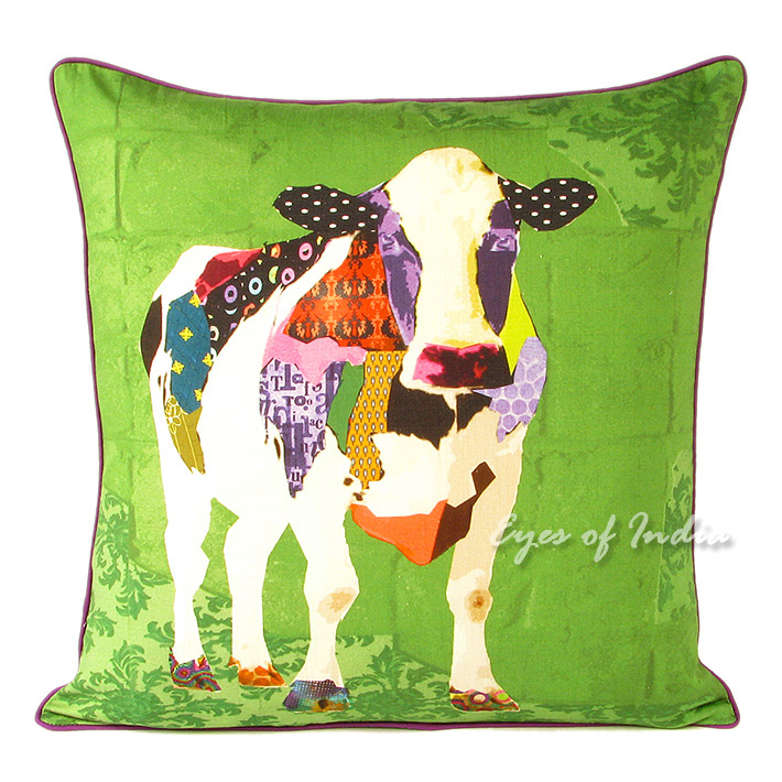 Cow Colorful Decorative Boho Throw Pillow Bohemian Couch Sofa Cushion Cover - 18""