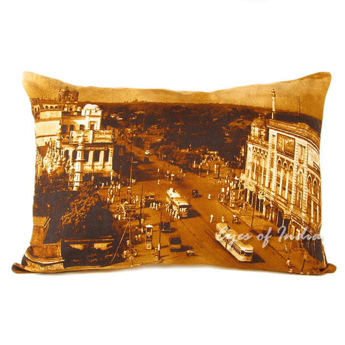 Mumbai City Colorful Decorative Throw Bolster LumbarPillow Boho Couch Sofa Cushion Cover - 14 X 20""