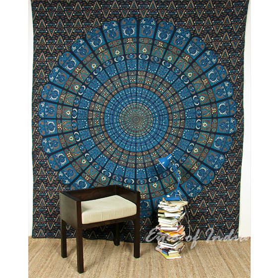 Large Queen Blue Indian Elephant Mandala Tapestry Wall Hanging Picnic Bohemian B
