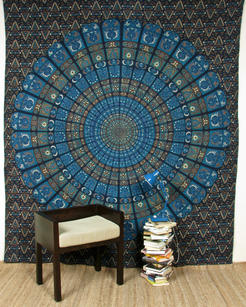 Large Queen Blue Indian Elephant Mandala Tapestry Wall Hanging Picnic Bohemian Accent Boho Chic Handmade