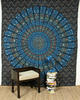 Large Queen Blue Indian Elephant Mandala Tapestry Wall Hanging Picnic Bohemian A 1