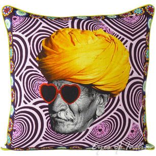 Man with Turban Boho Colorful Throw Pillow Bohemian Couch Sofa Cushion Cover - 18""
