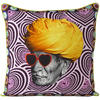 "Man with Turban Boho Colorful Throw Pillow Bohemian Couch Sofa Cushion Cover - 18"" 1"
