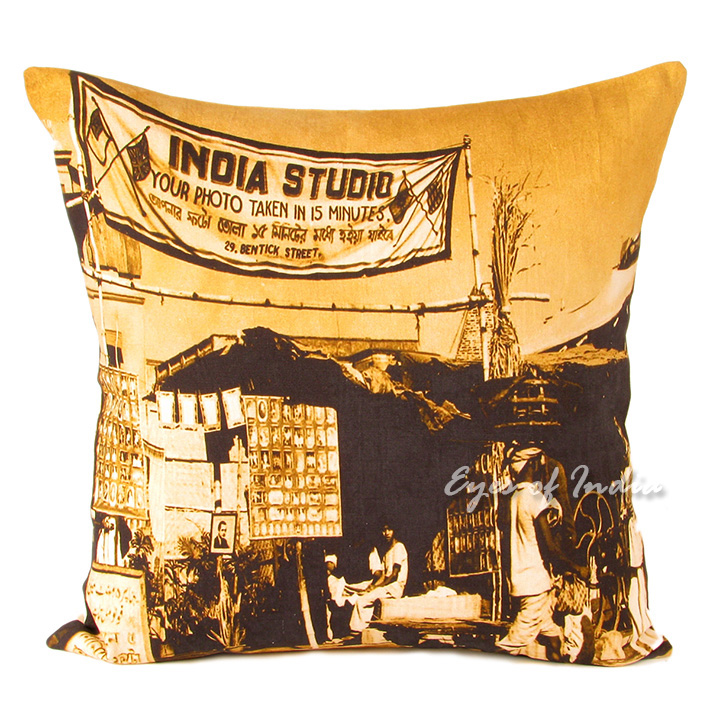 Bombay City Colorful Decorative Boho Throw Pillow Bohemian Couch Sofa Cushion Cover - 20""