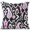Black Ikat Kantha Colorful Decorative Boho Sofa Throw Pillow Bohemian Couch Cushion Cover - 16""