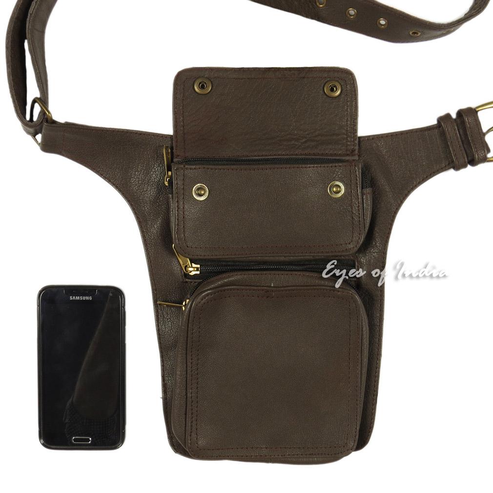 ce1f50c0a1b Brown Leather Belt Waist Hip Bum Bag Pouch Fanny Pack Utility Pocket Travel