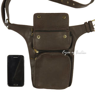 Brown Leather Belt Waist Hip Bum Bag Pouch Fanny Pack Utility Pocket Travel
