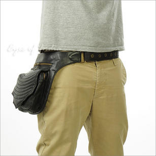 Black Leathe Belt Waist Hip Pouch Bag Utility Fanny Pack Pocket Travel